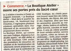 Boutique, Atelier, Article, Presse, Actualité, Ouverture, Sacré-Coeur, Cholet